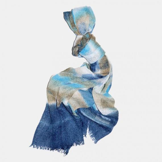 Batik sjal blå
