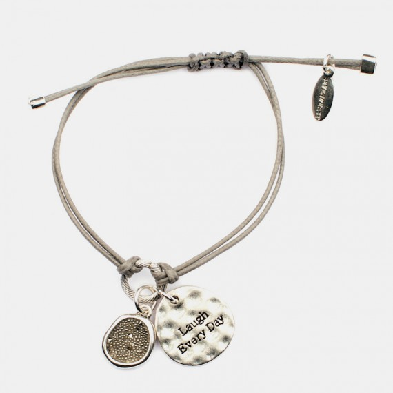 Laugh Every Day Armband Silver