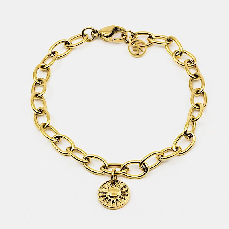 Sun Amulet Armband Guld