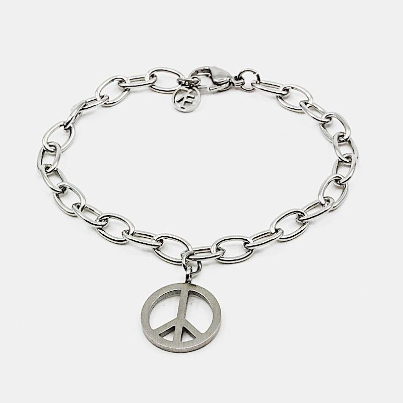 Small Peace Armband Stål
