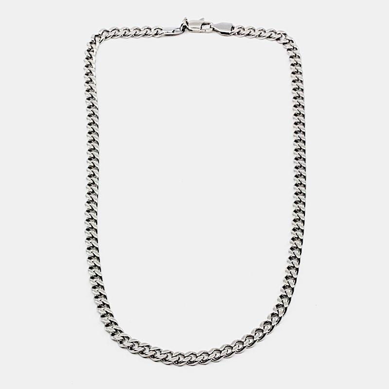 Flat Chain Halsband 42cm Stål