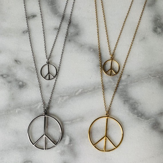 Peace Halsband 45cm Guld