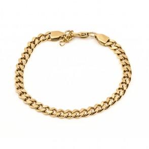 Brushed Flat Chain Armband Guld