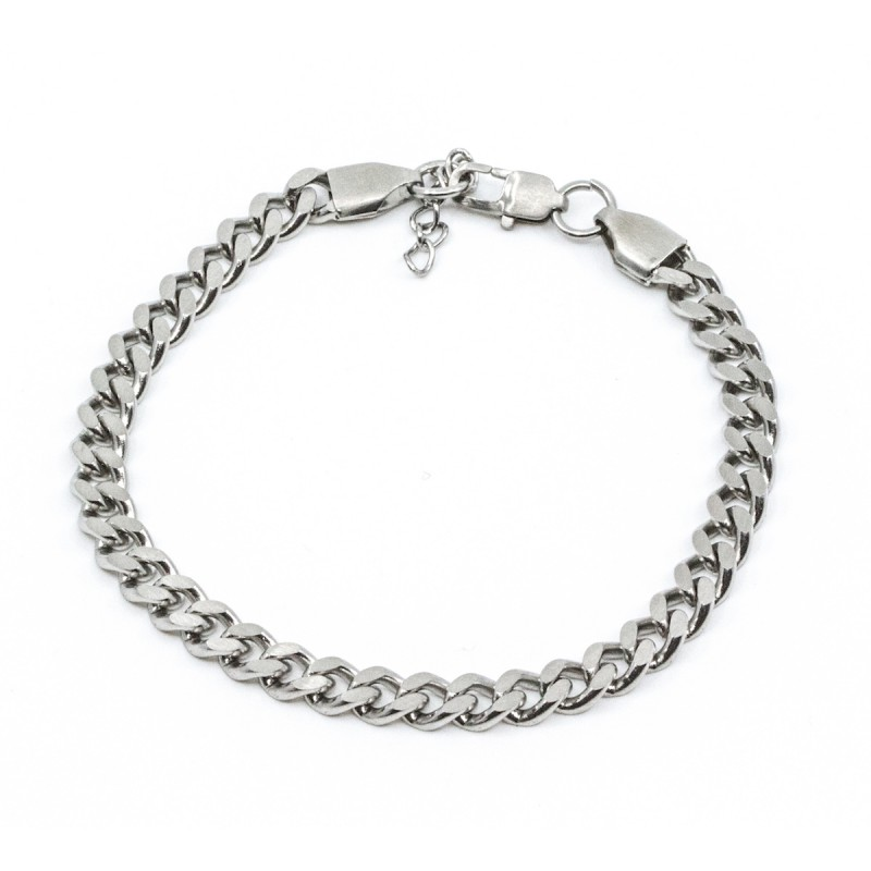 Brushed Flat Chain Armband Silver