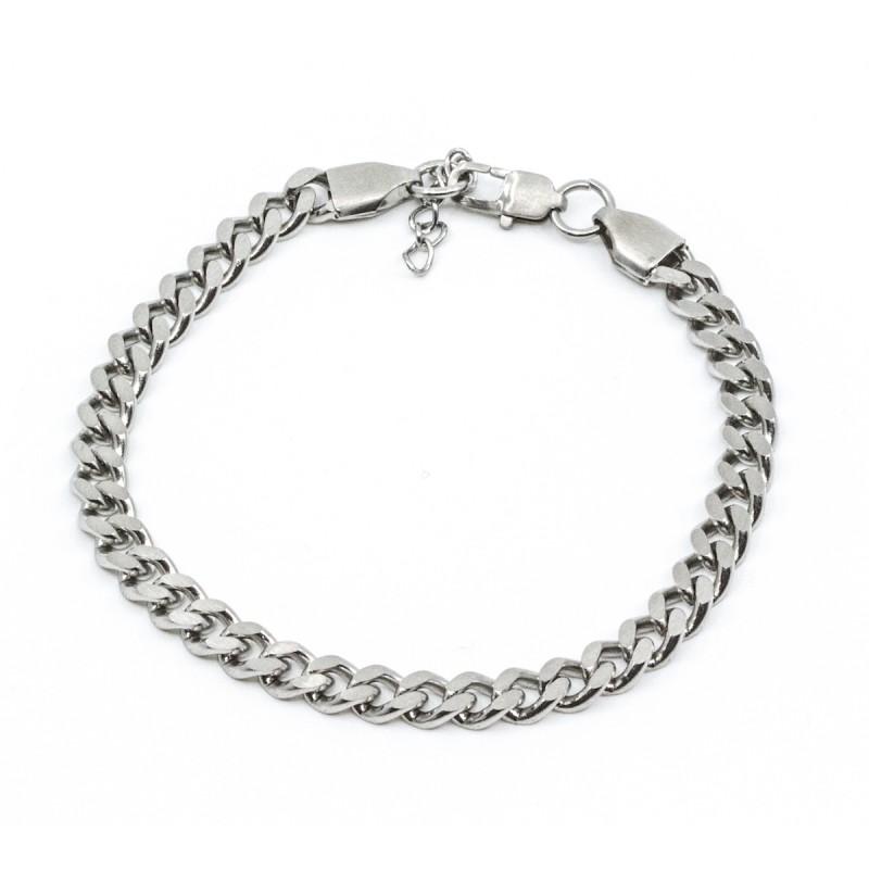 Brushed Flat Chain Armband Silver