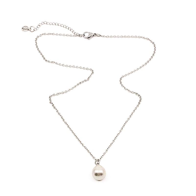 Hanging Pearl Halsband 45 Grå