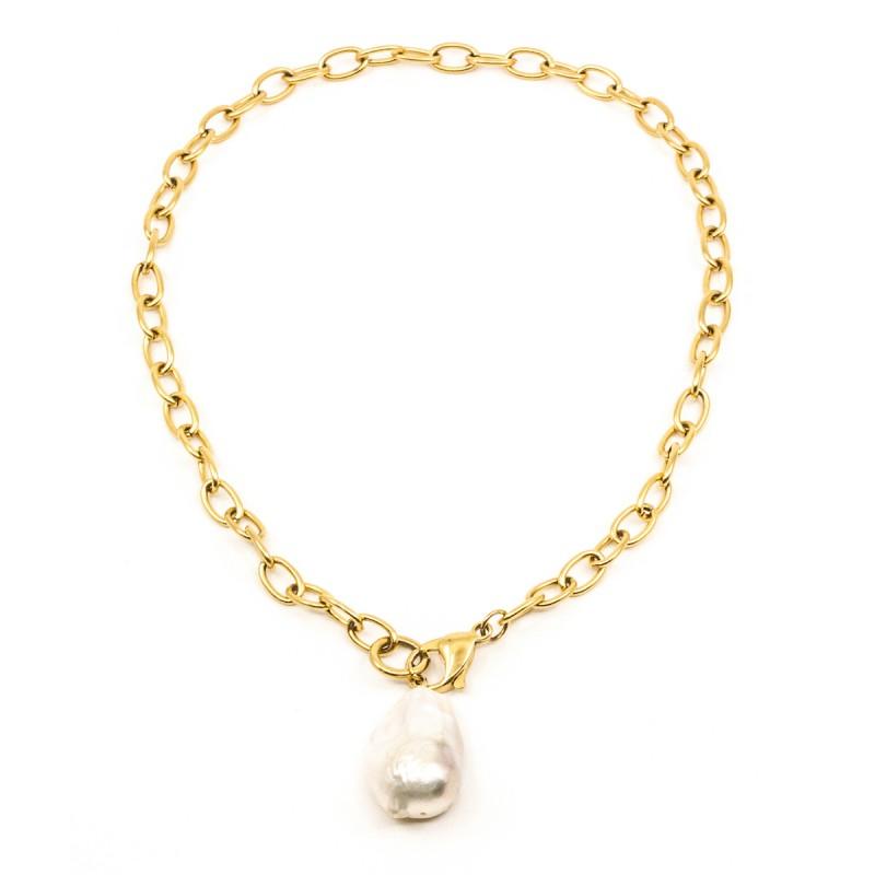 Chunky Pearl Halsband 45cm Guld