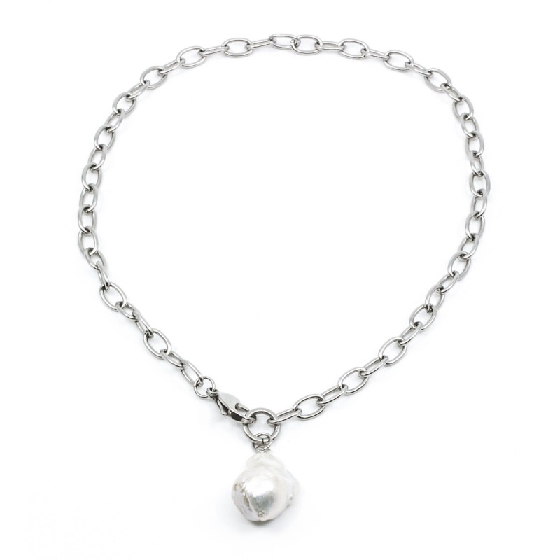Chunky Pearl Halsband 45cm Silver
