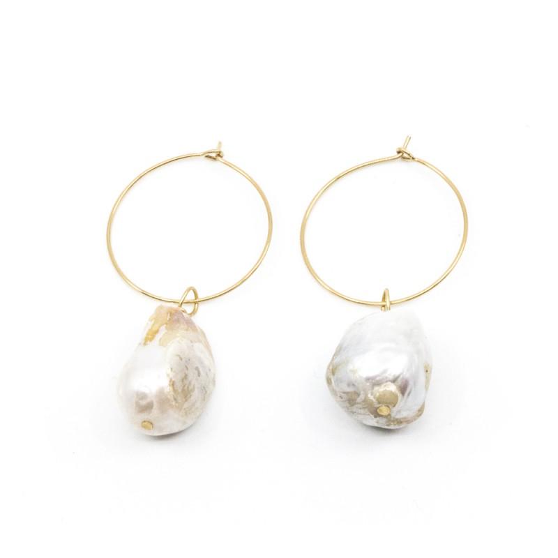 Chunky Pearl Örhänge Guld