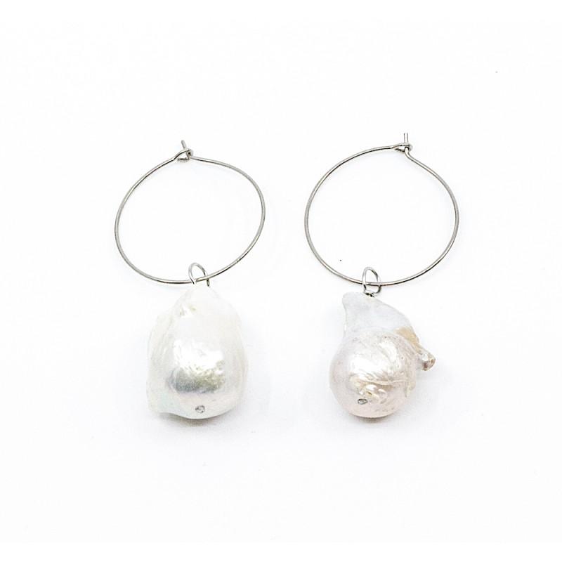 Chunky Pearl Örhänge Silver