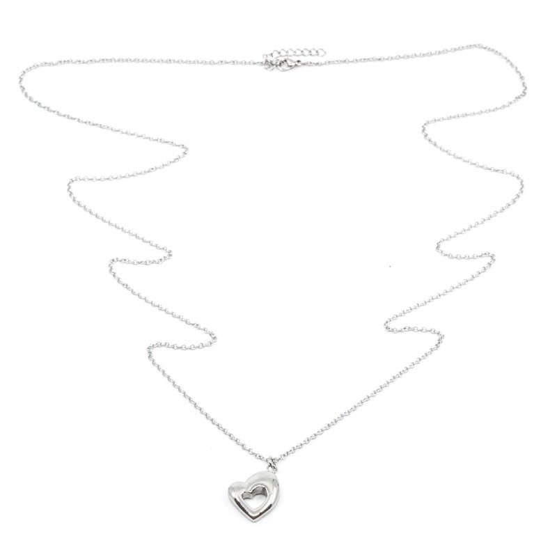 Retro Heart Halsband 90cm Silver