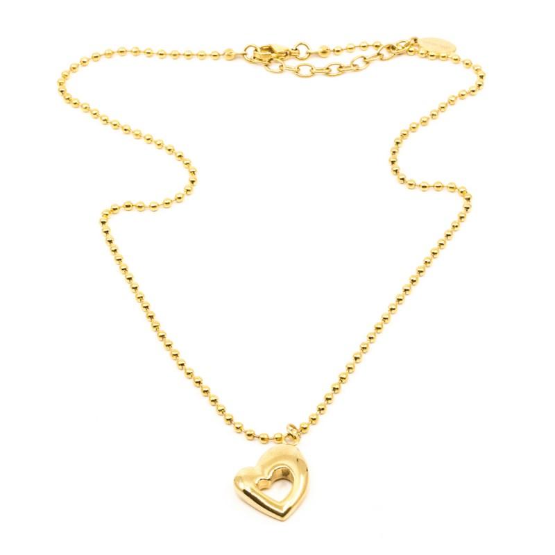 Retro Heart Halsband 45cm Guld