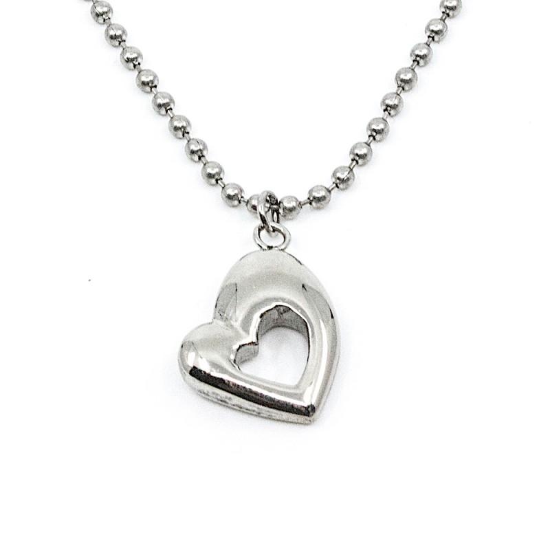 Retro Heart Halsband 45cm Silver