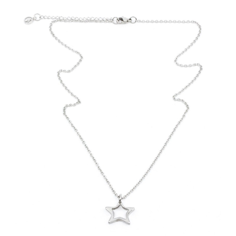 Hollow Star Halsband 42cm Silver