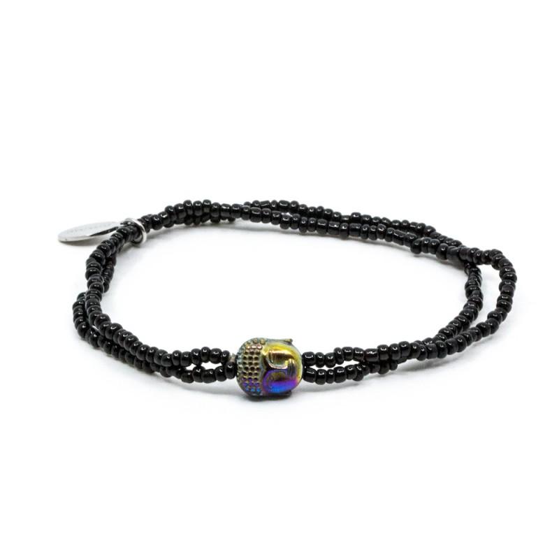 Mini Buddha Armband Svart
