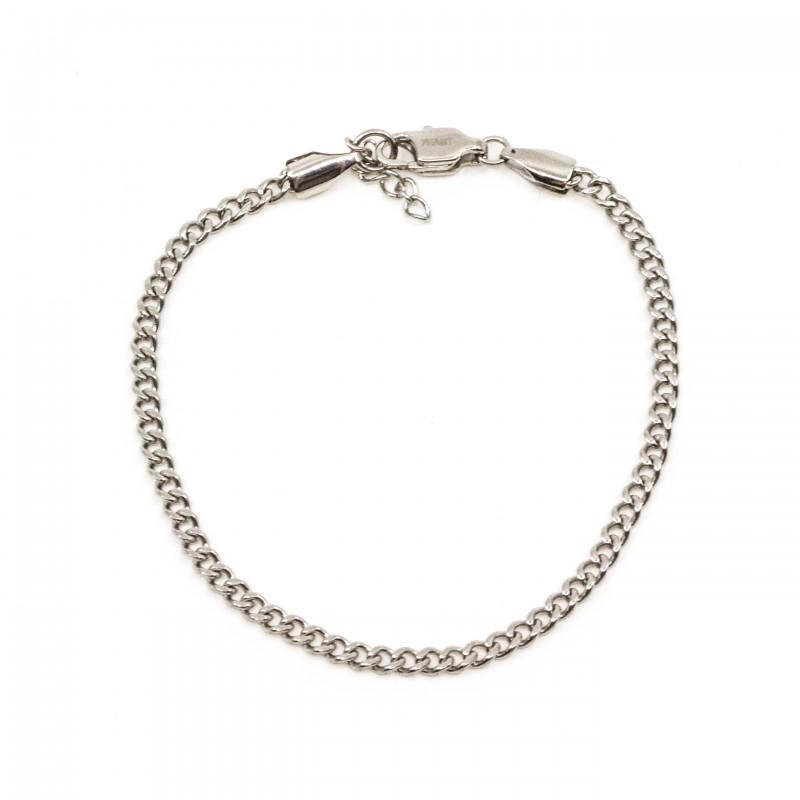 Mini Flat Chain Armband Silver