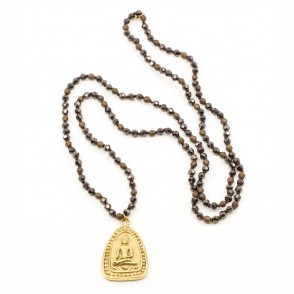 Buddha Icon Halsband Brun