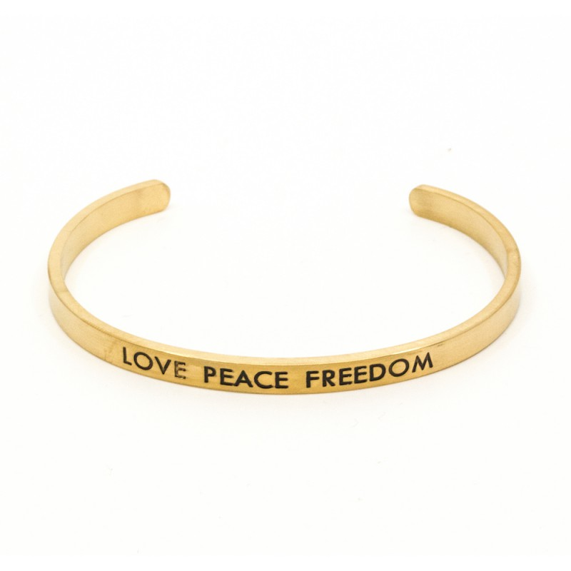 Peace, Love and Freedom Armband Guld