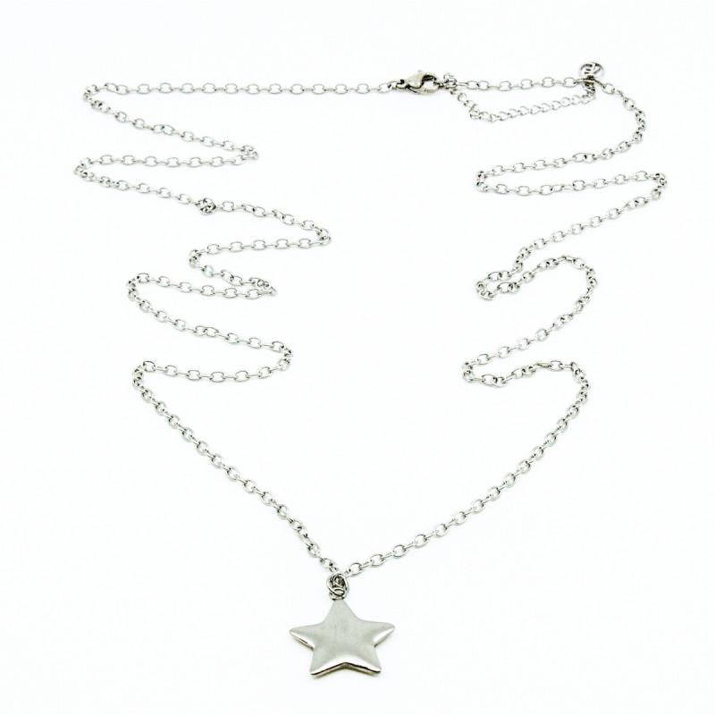 Brushed Star Halsband 90cm Silver