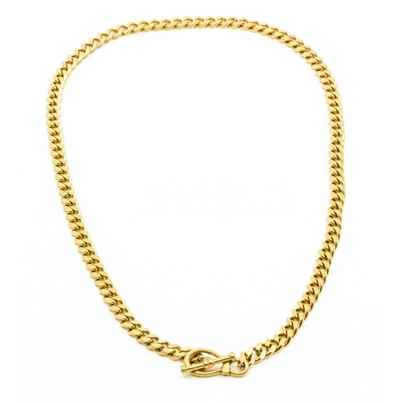 Big Flat Chain Halsband Guld