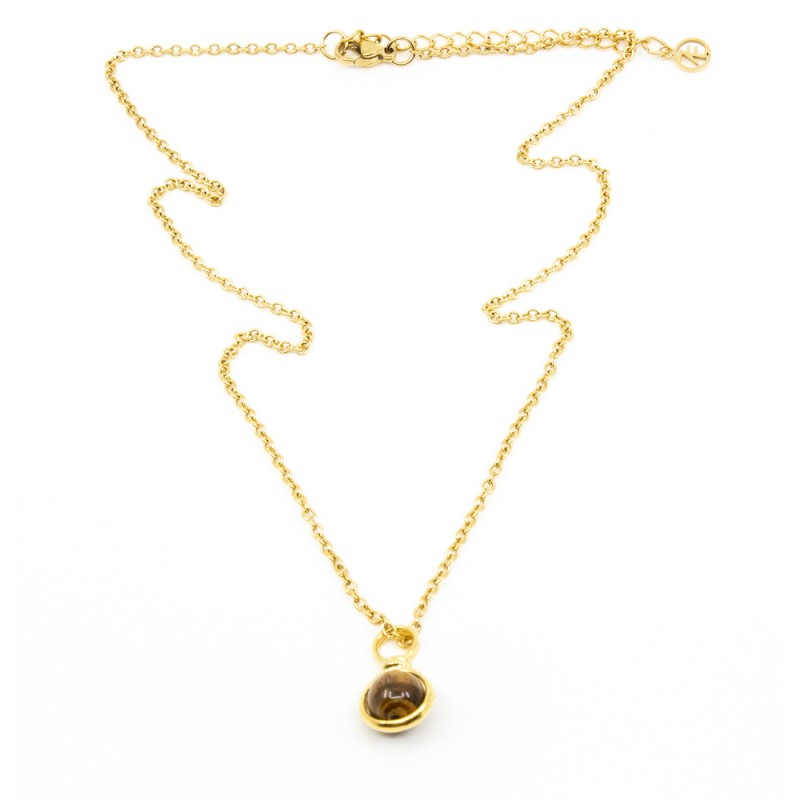 Beads Single Halsband 42cm Tigeröga